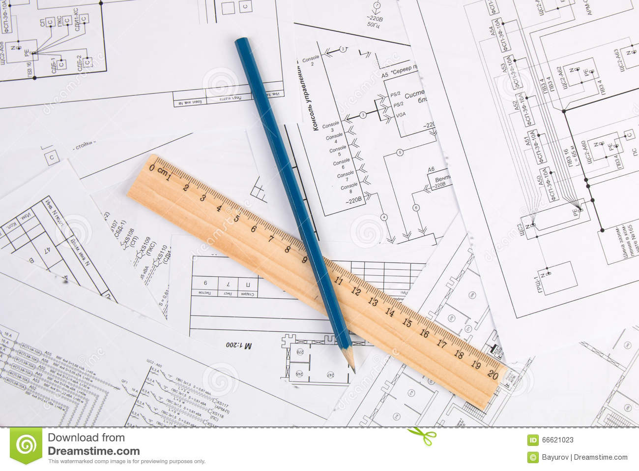 Electrical Engineering Drawings Pencil And Ruler Stock Image Diagram Printing