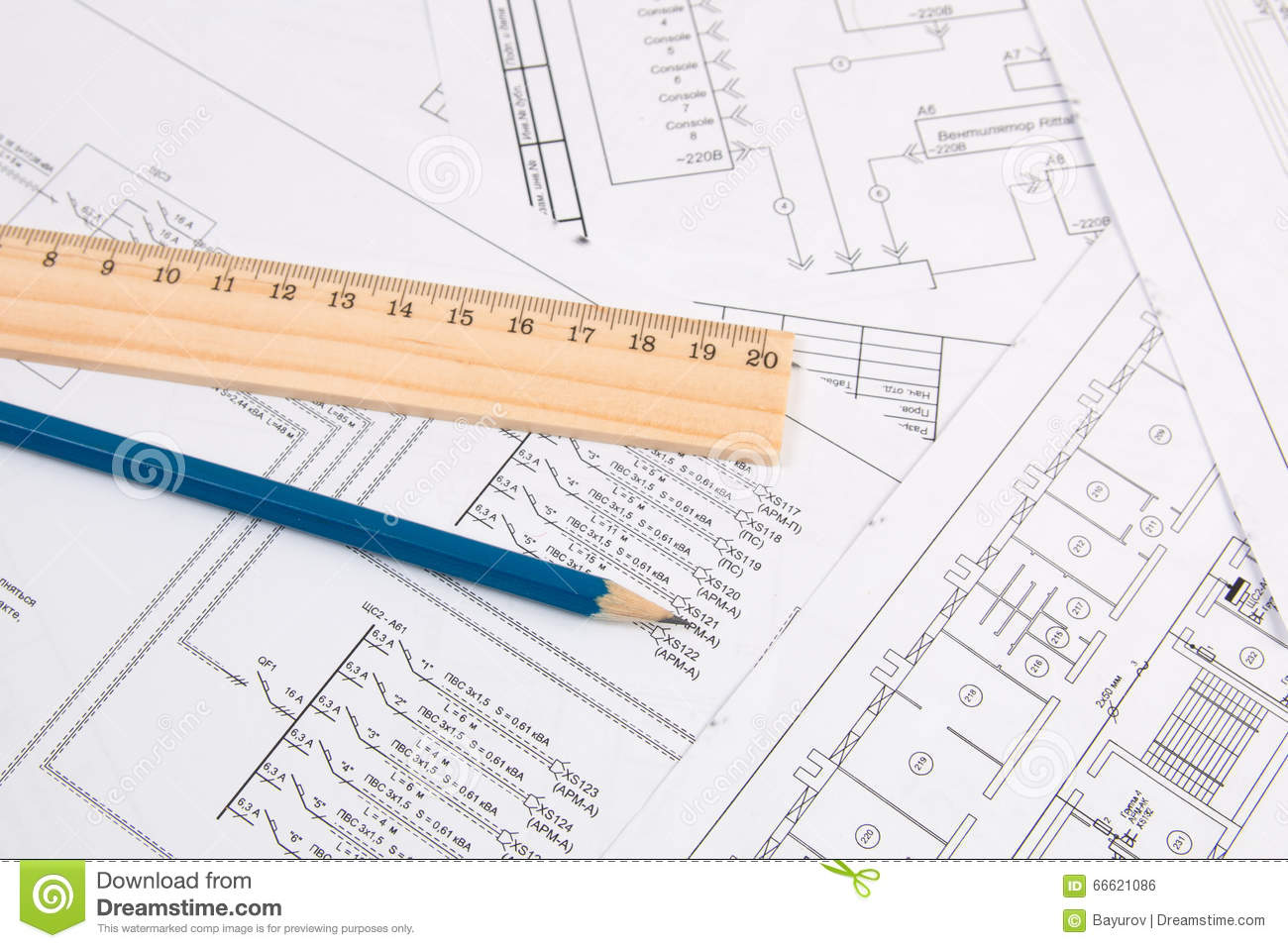 Electrical Engineering Drawings, Pencil And Ruler Stock Photo ... on