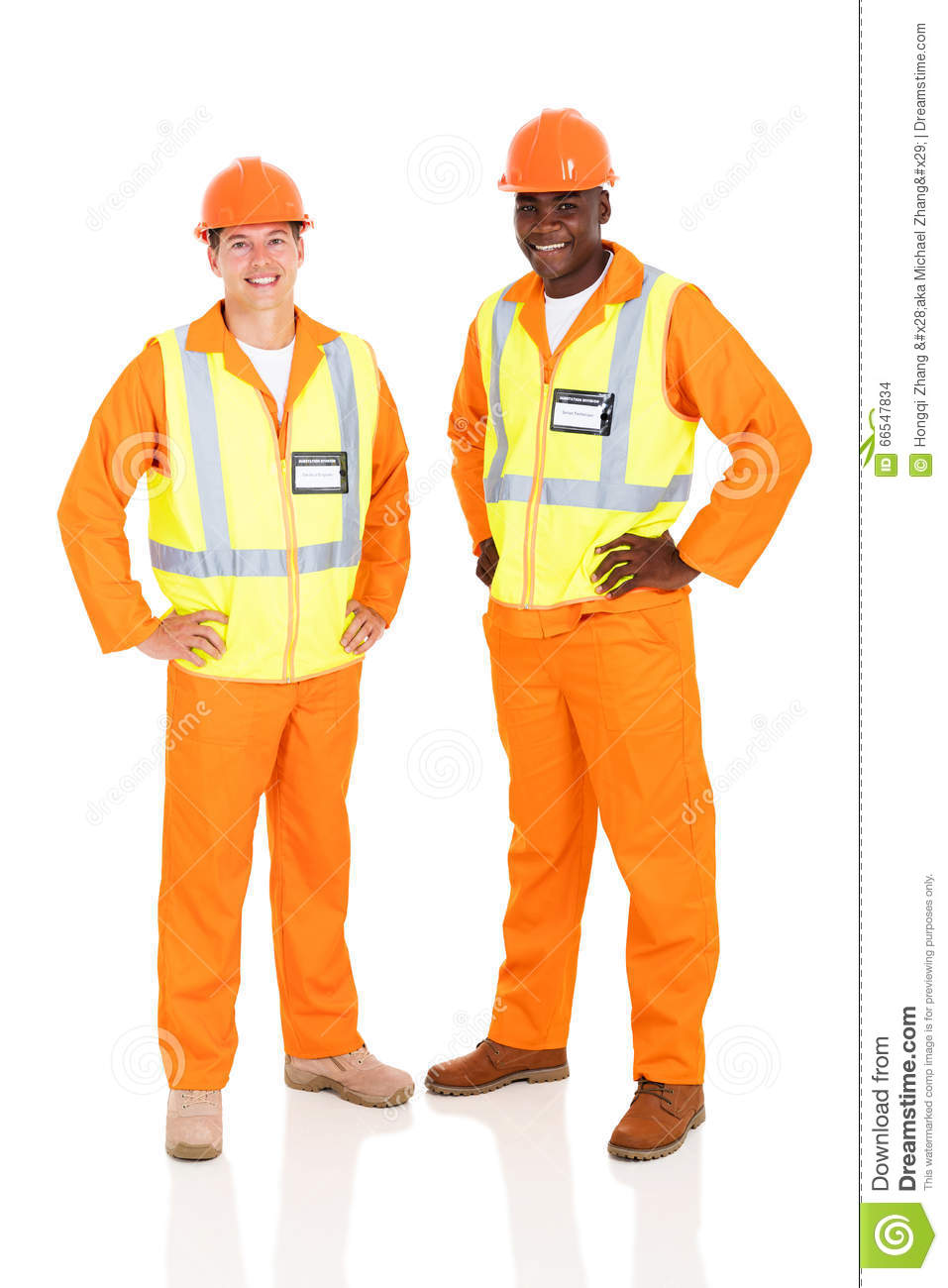 Electrical engineers standing