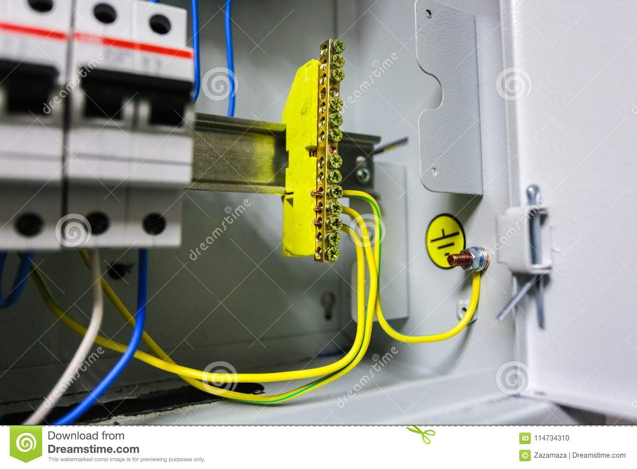 Electrical Ground Wires Is Connected To Copper Bar Or Earth And Wiring System Bonding In Metal Electric