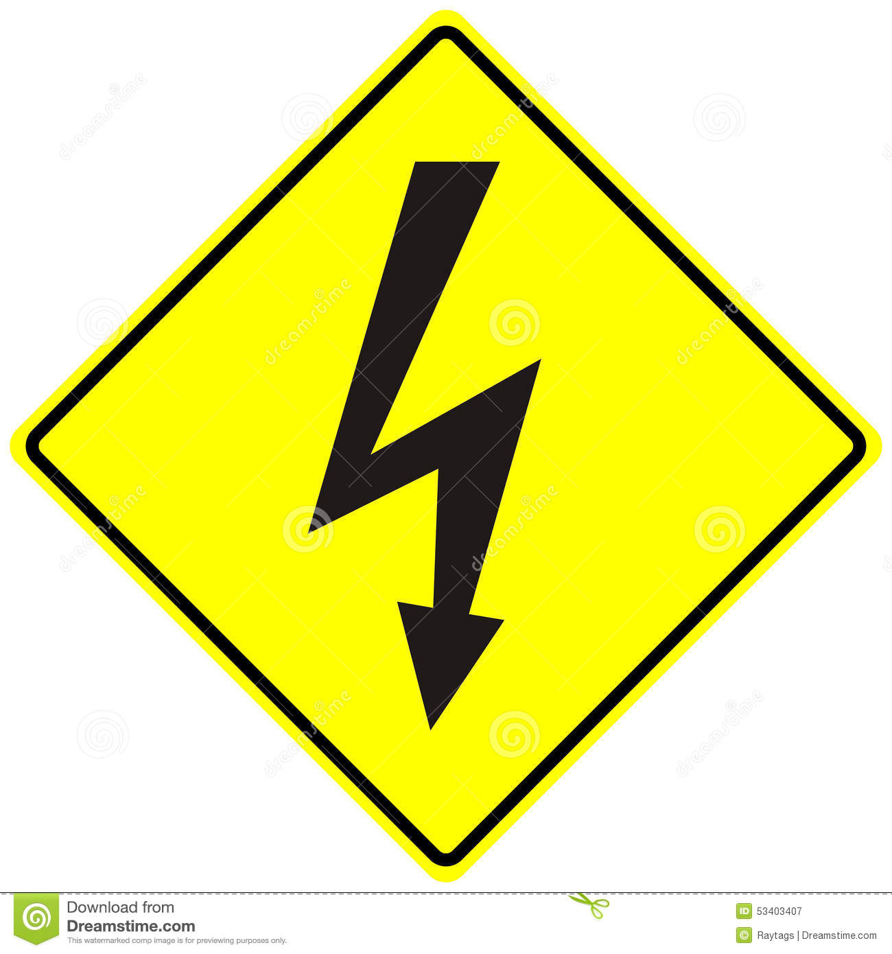 Electrical Hazard High Voltage Sign Isolated Macro Stock ...
