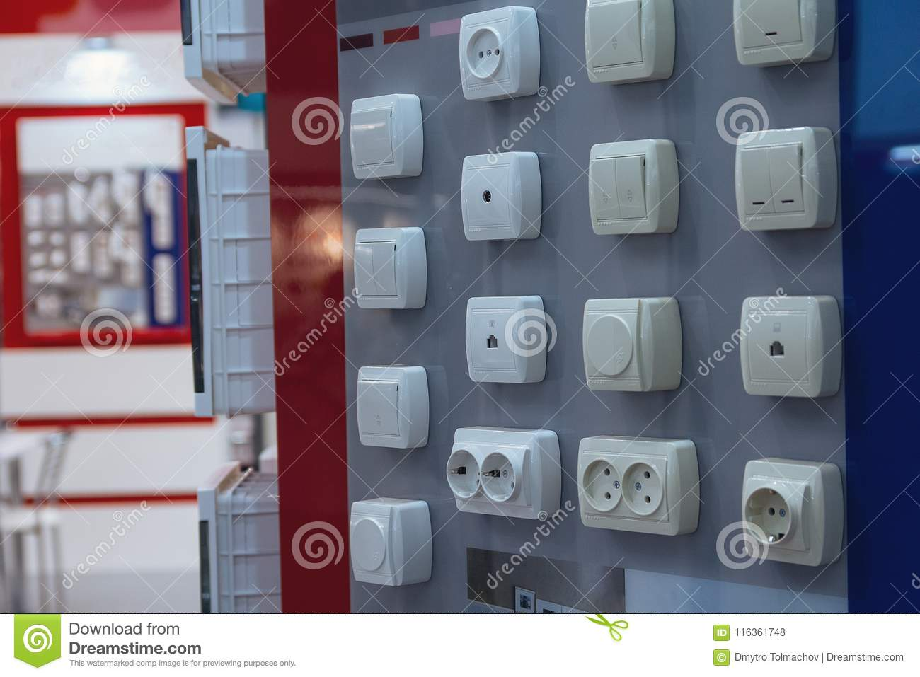 Electrical Household Switches On The Stand In The Store Stock Photo ...