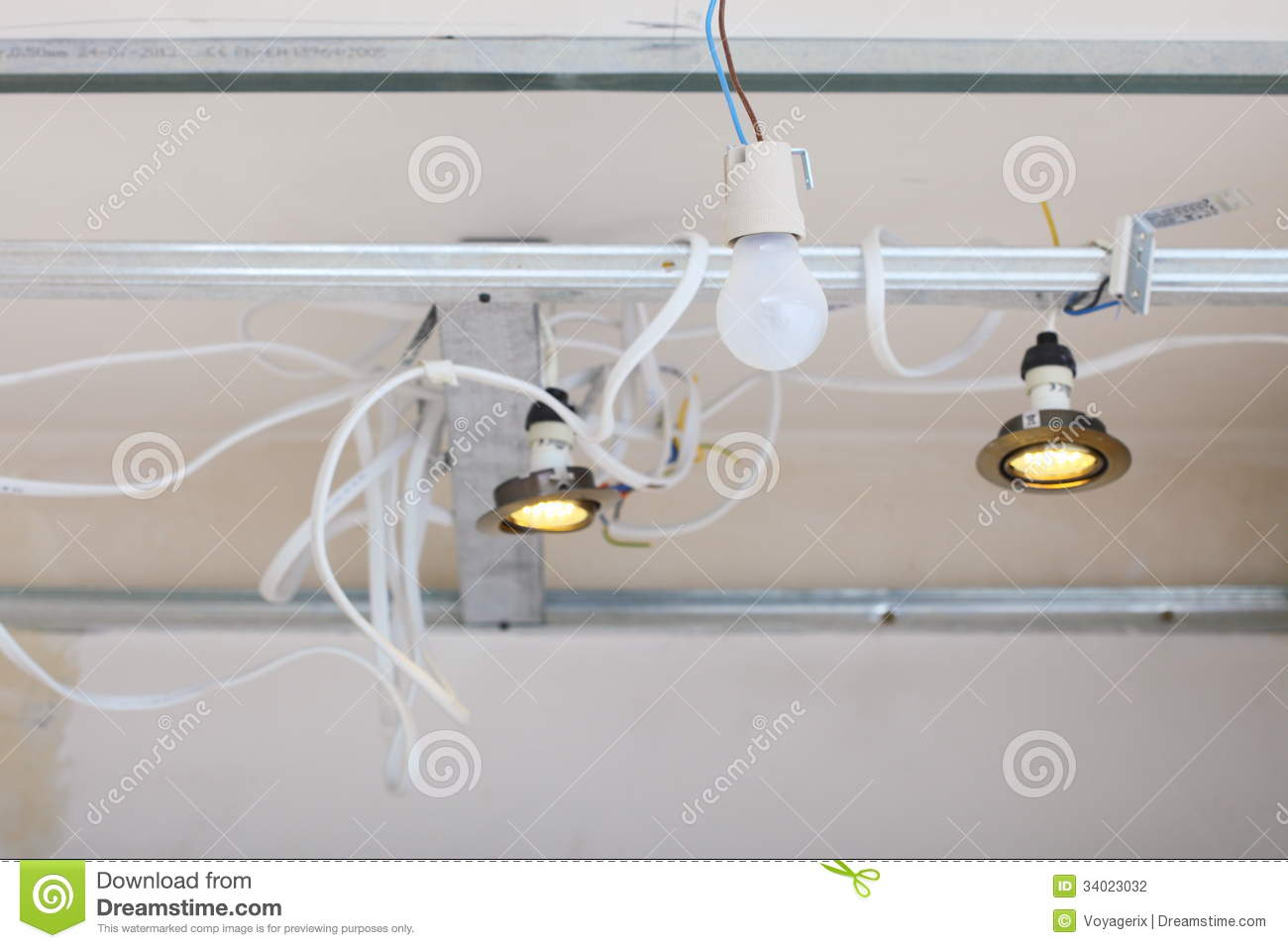 Electrical Installation At Construction Site. Installing Energy ...