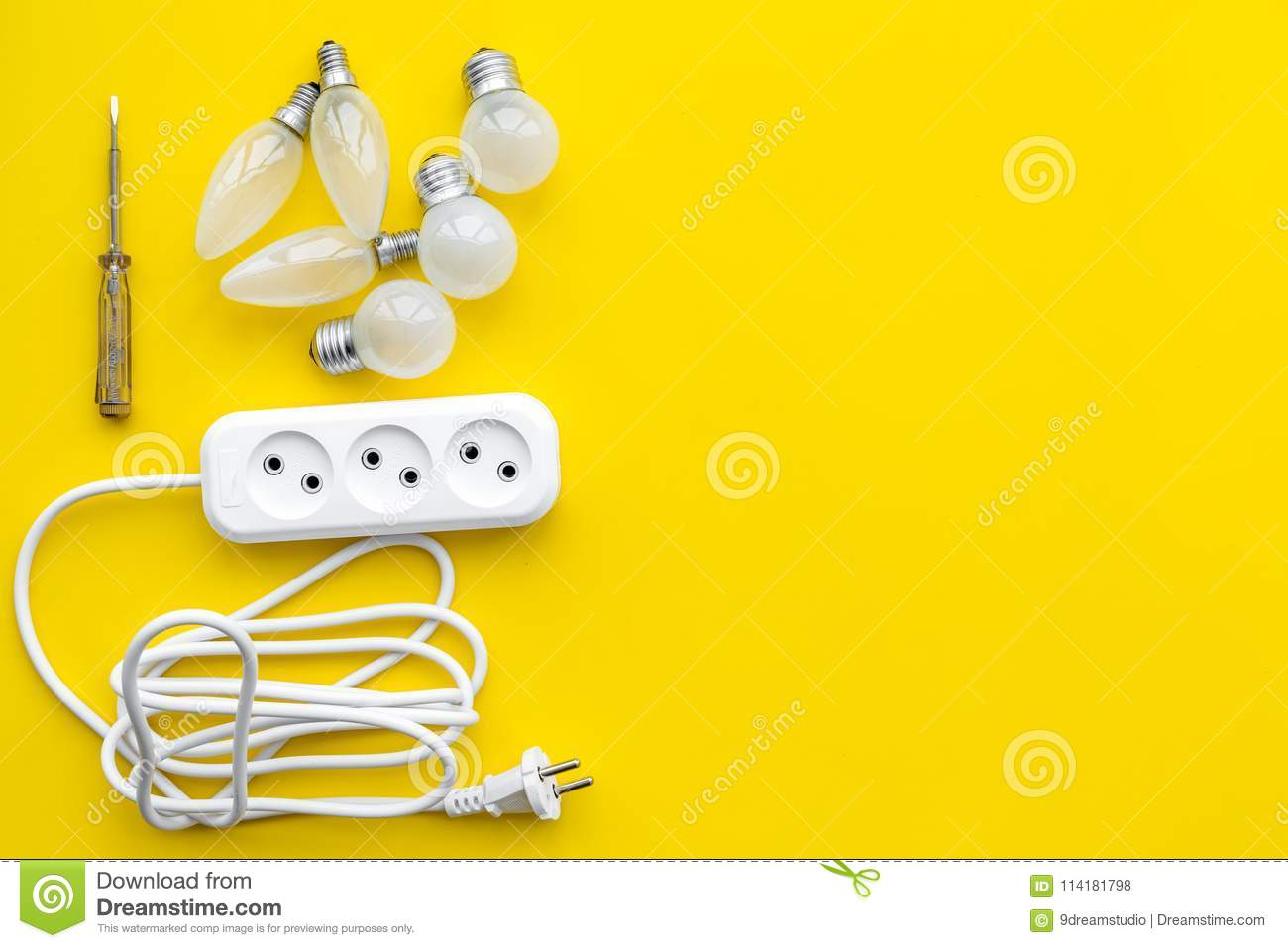 Electrical Installation Wiring Works Bulbs And Socket Outlet On Power Yellow Background Top View Copy