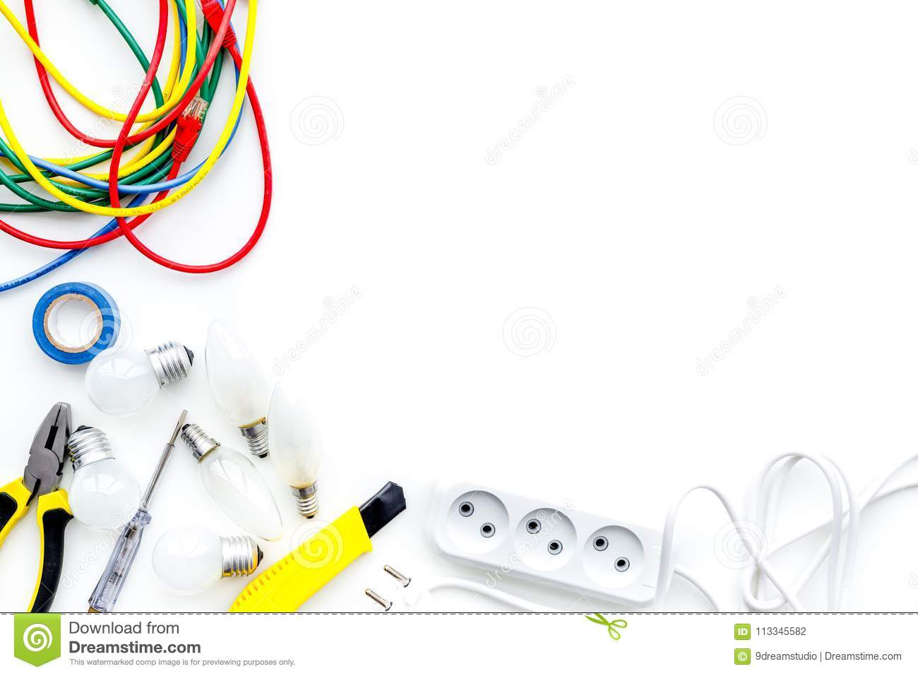Electrical Installation Wiring Works Tools Cabel And Socket Outlet On White Background Top View Copy Space Stock Photo Image Of Engineer Repairman 113345582