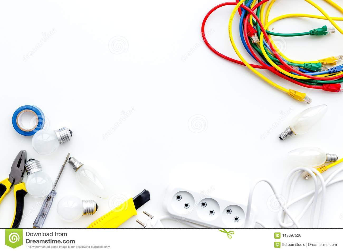 Electrical Installation Wiring Works Tools Cabel And Socket For Outlet On White Background Top