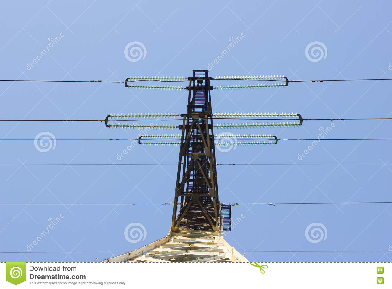 Electrical Insulator On The Wires Stock Image - Image of electric