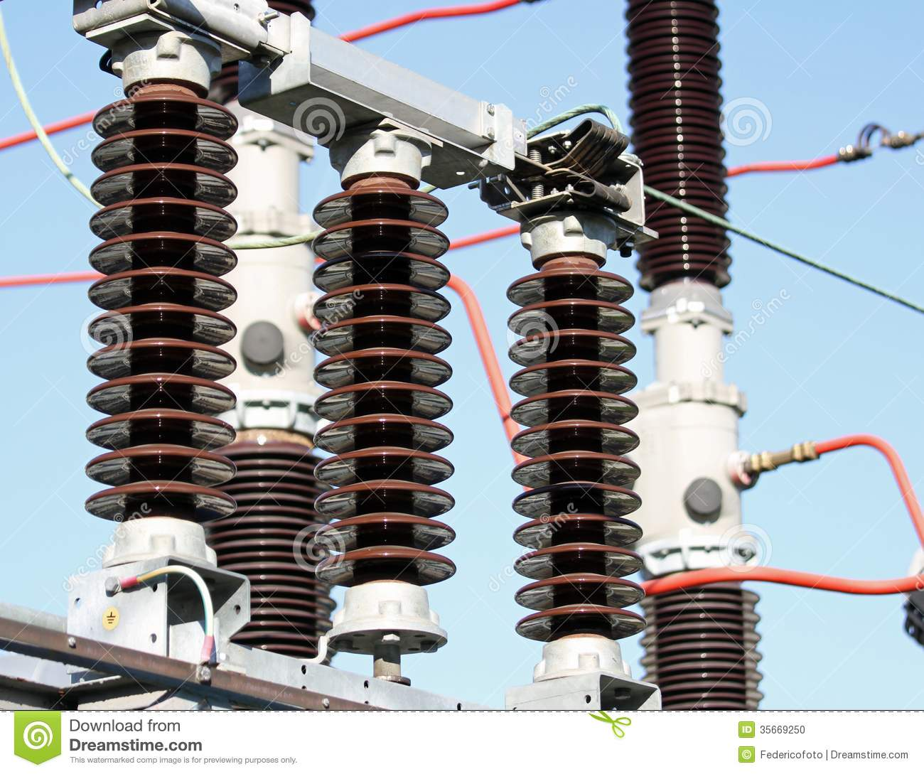 Electrical Insulators In A High-voltage Power Station Stock Photo ...