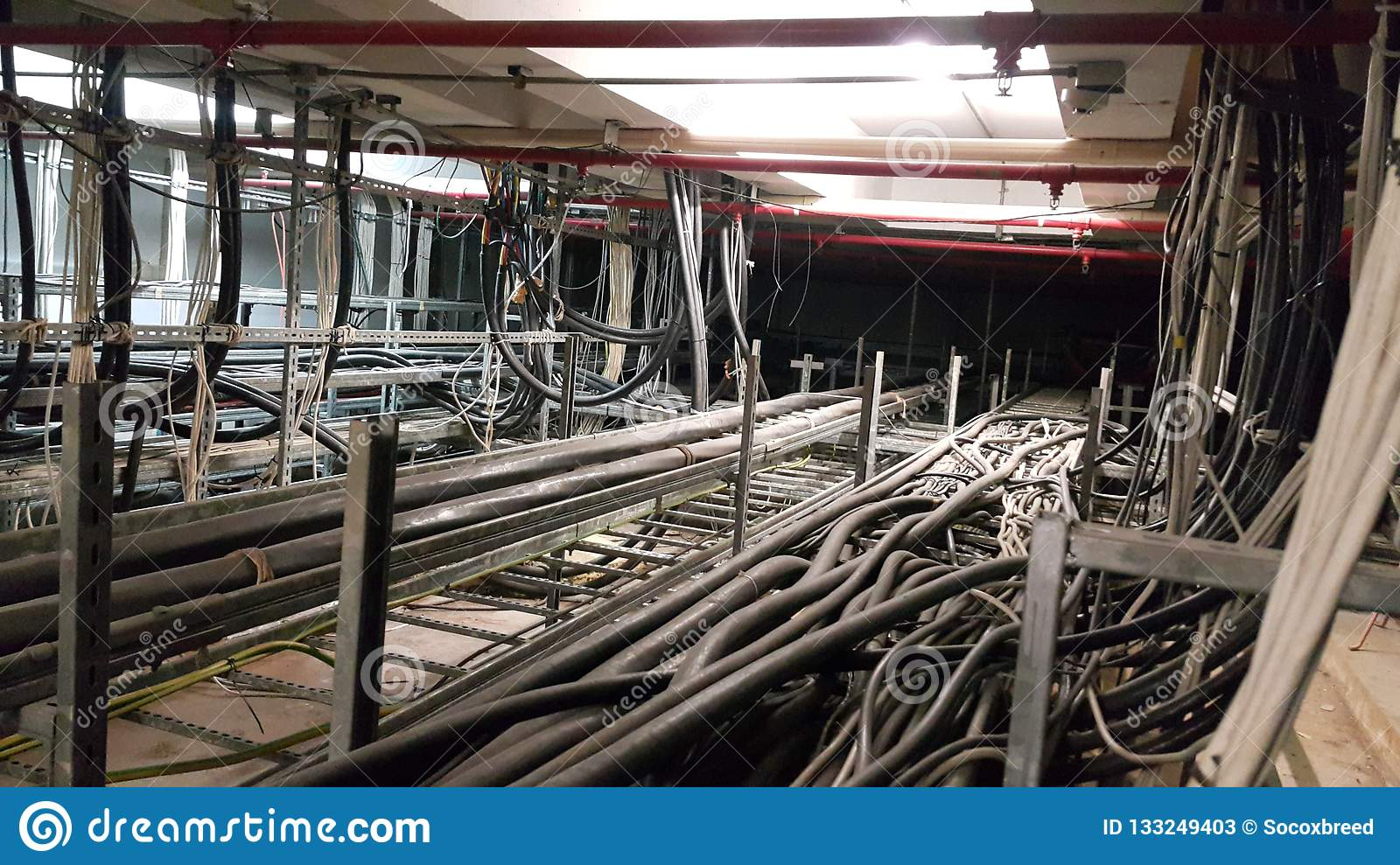 Electrical motor cable in cable room
