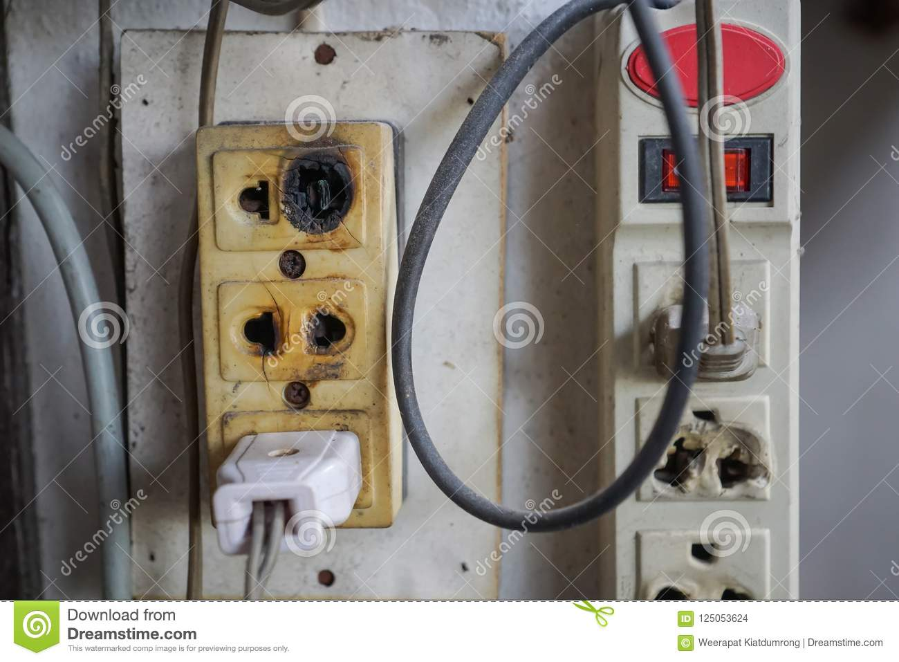 Electrical outlet burnt and damaged