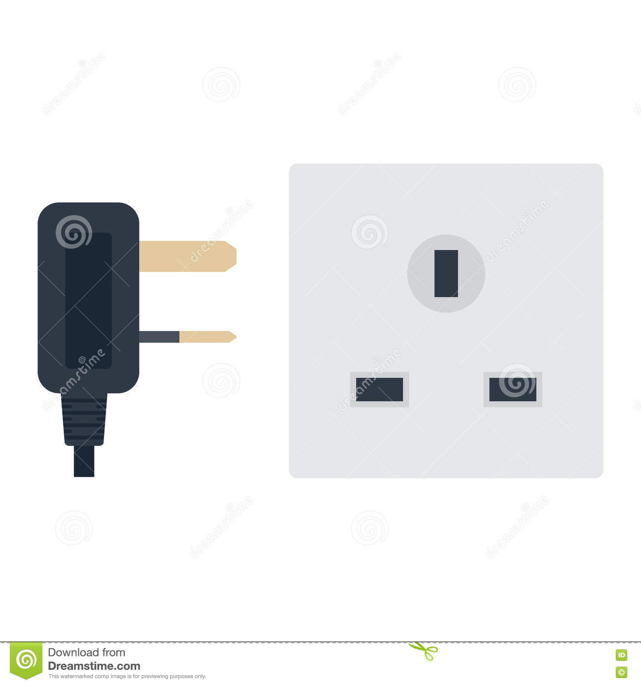 Electrical Outlet Plug Vector Illustration Stock Wiring Wall Outlets Electric On White Background Energy Socket Appliance Interior Icon Wire Cable Cord Connection