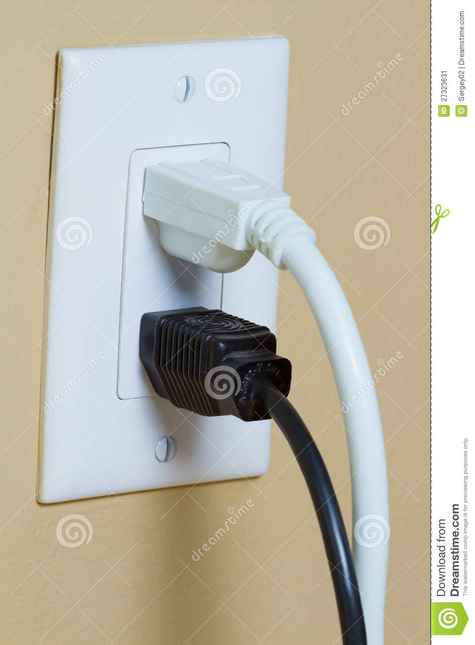 Electrical Outlet With Two Cable Stock Image Of Culture Wiring An 2 Black White