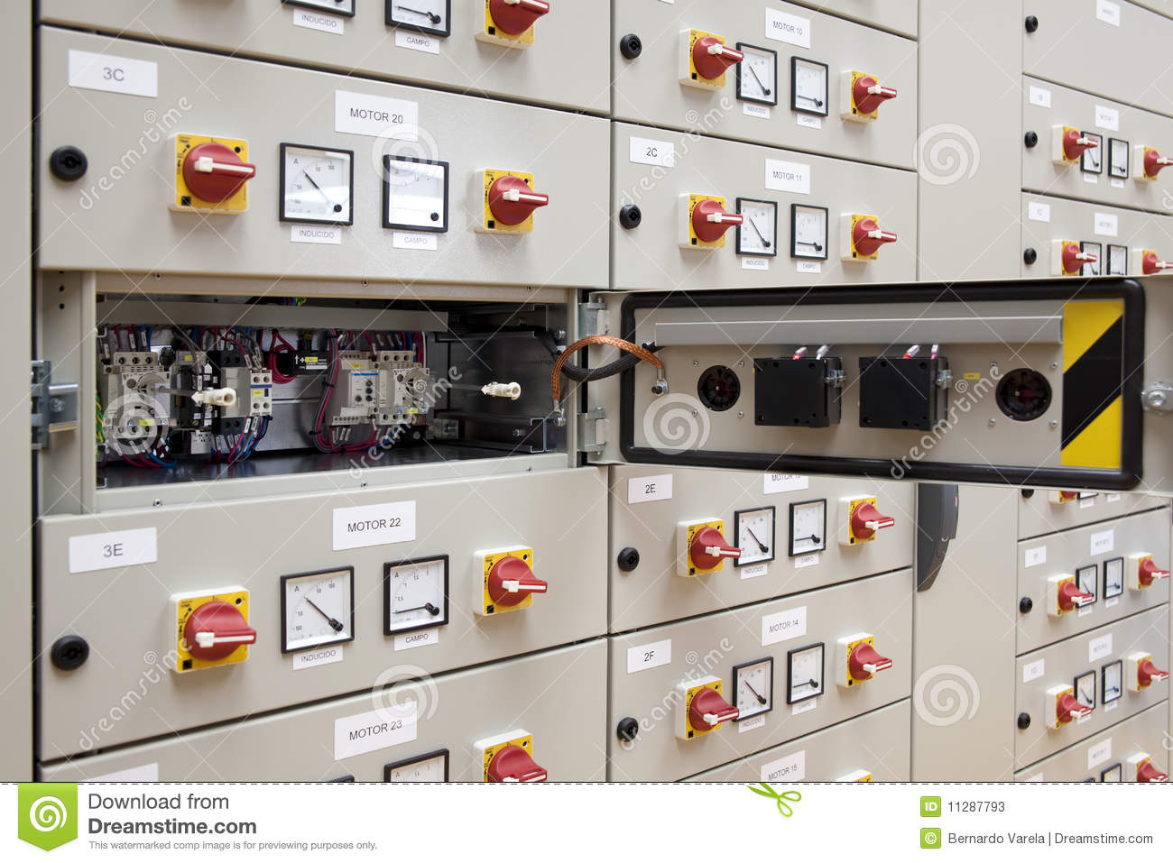 Electrical Panel Has Automatic Fuse Switches Close Up