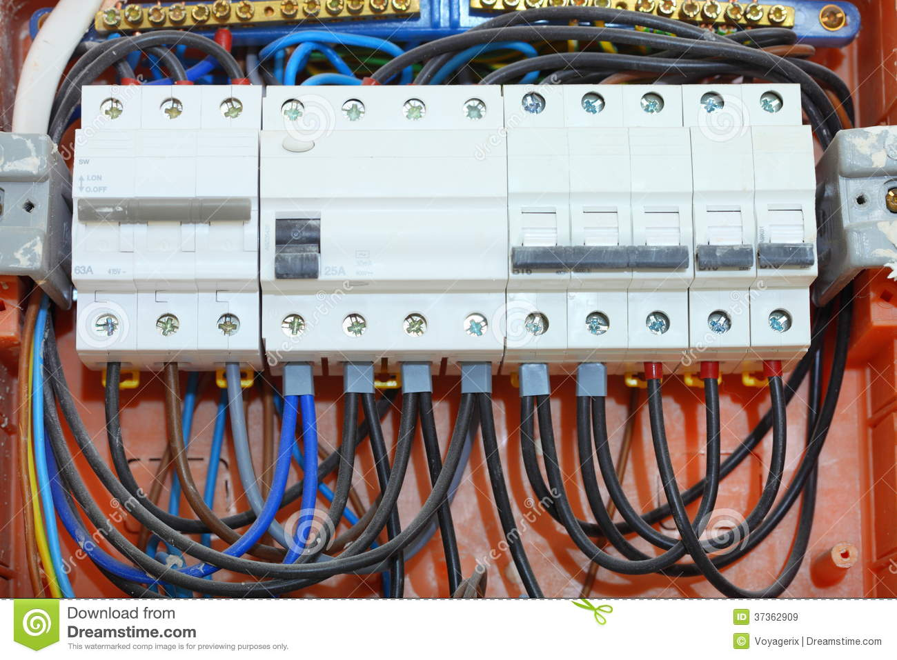 Electrical Panel Box With Fuses And Contactors Stock Image Home Wiring Main