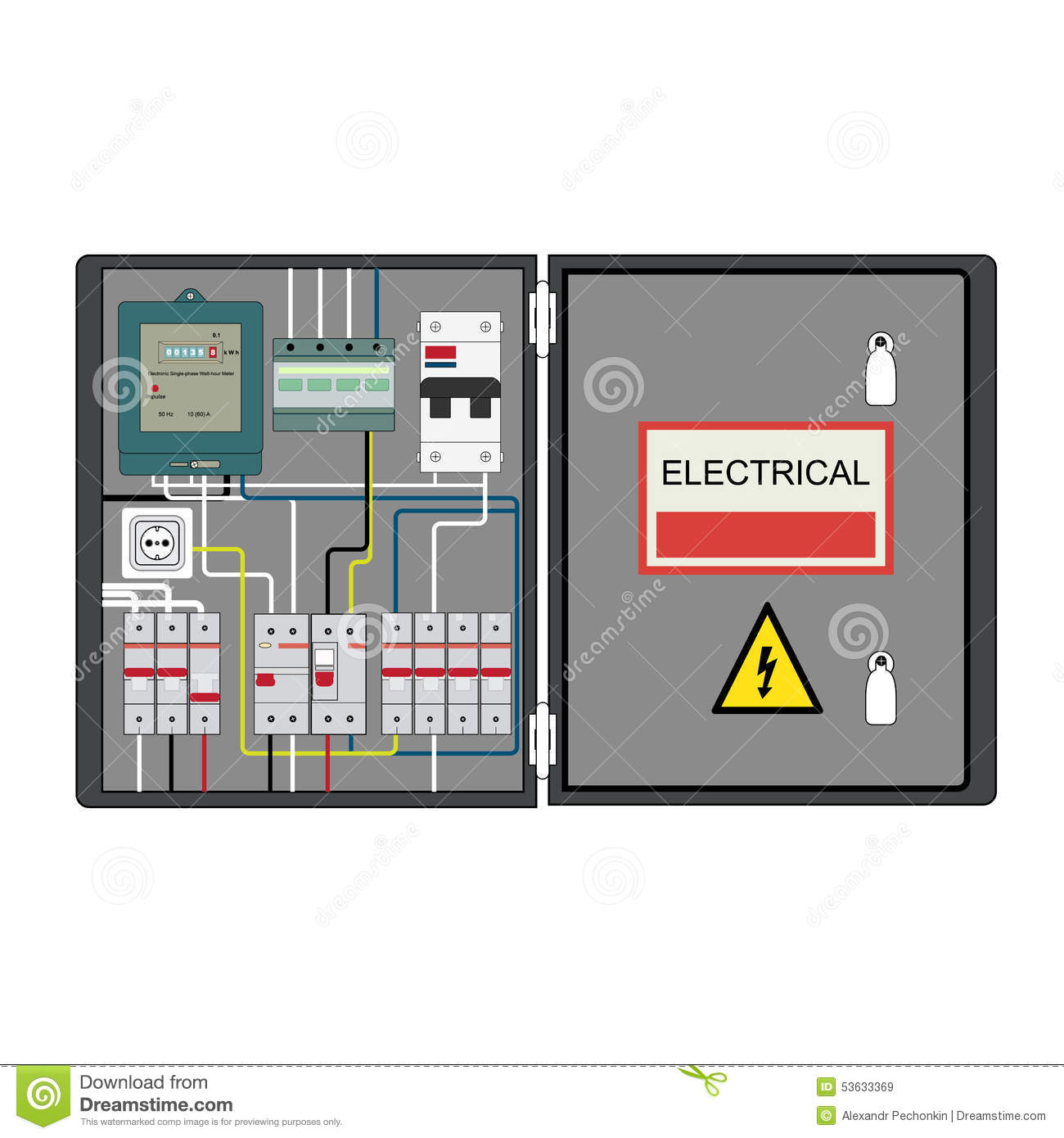 Electrical panel stock vector. Illustration of home, electrical ...