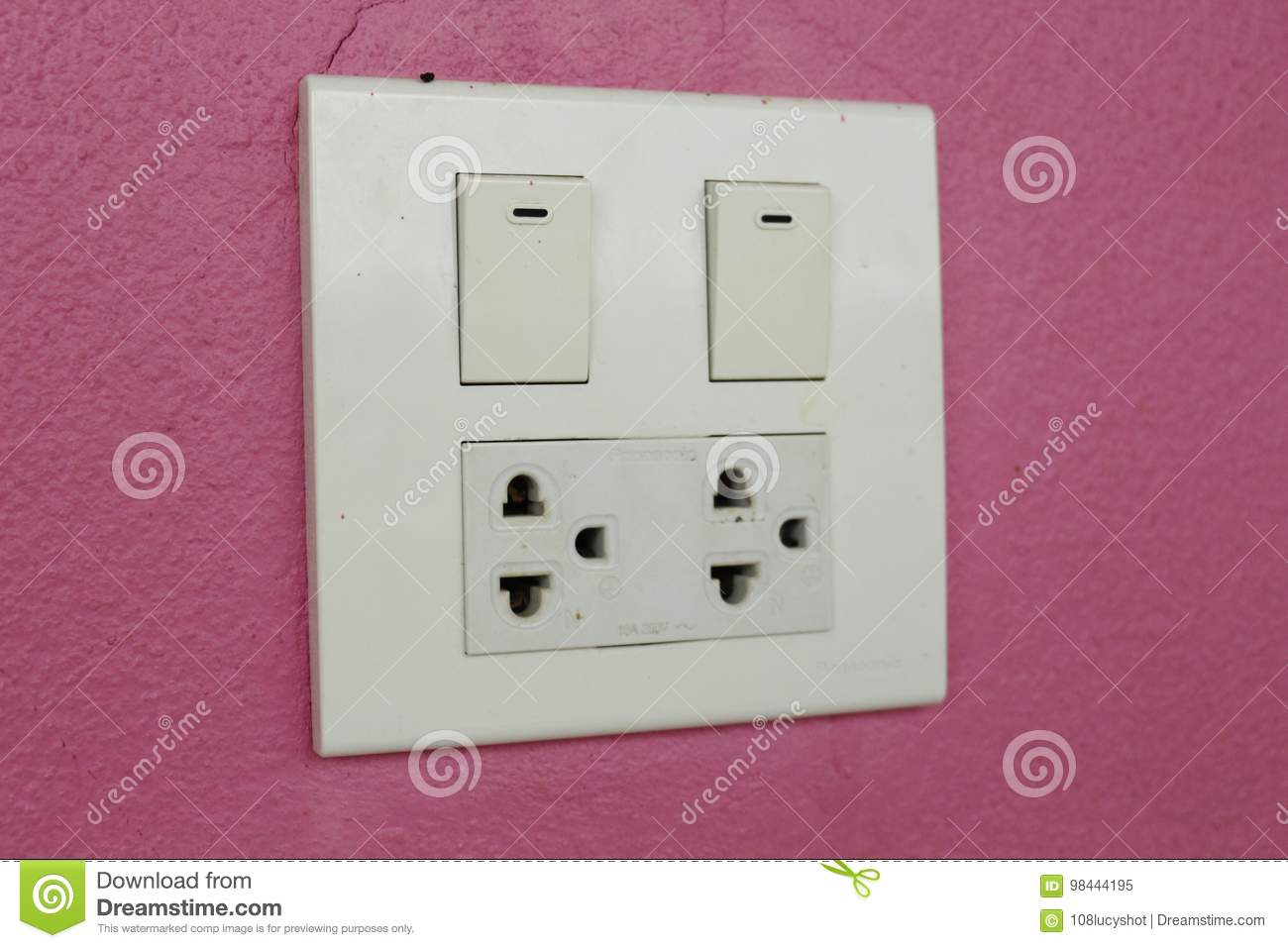 Electrical Plug And Pink Background Stock Image - Image of european ...