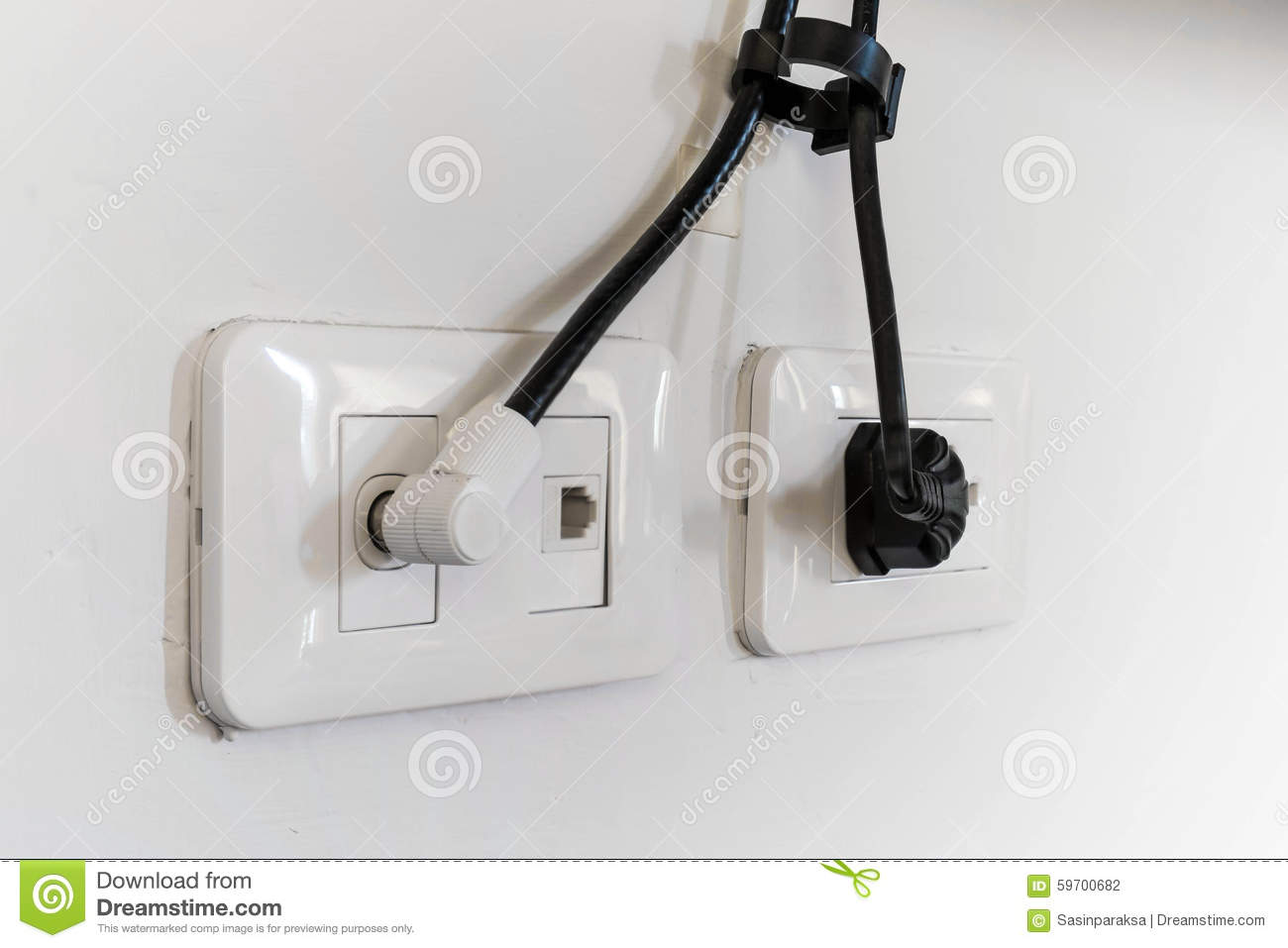 Electrical Plug And TV Signal Outlets Stock Photo - Image of charge ...