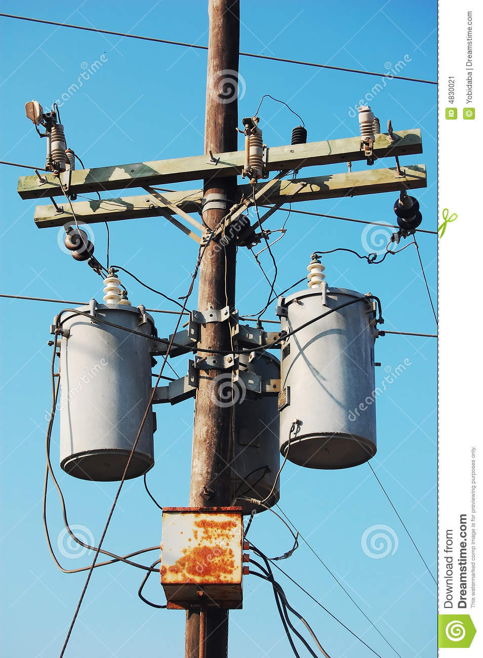 electrical post with transformer stock image image of lines