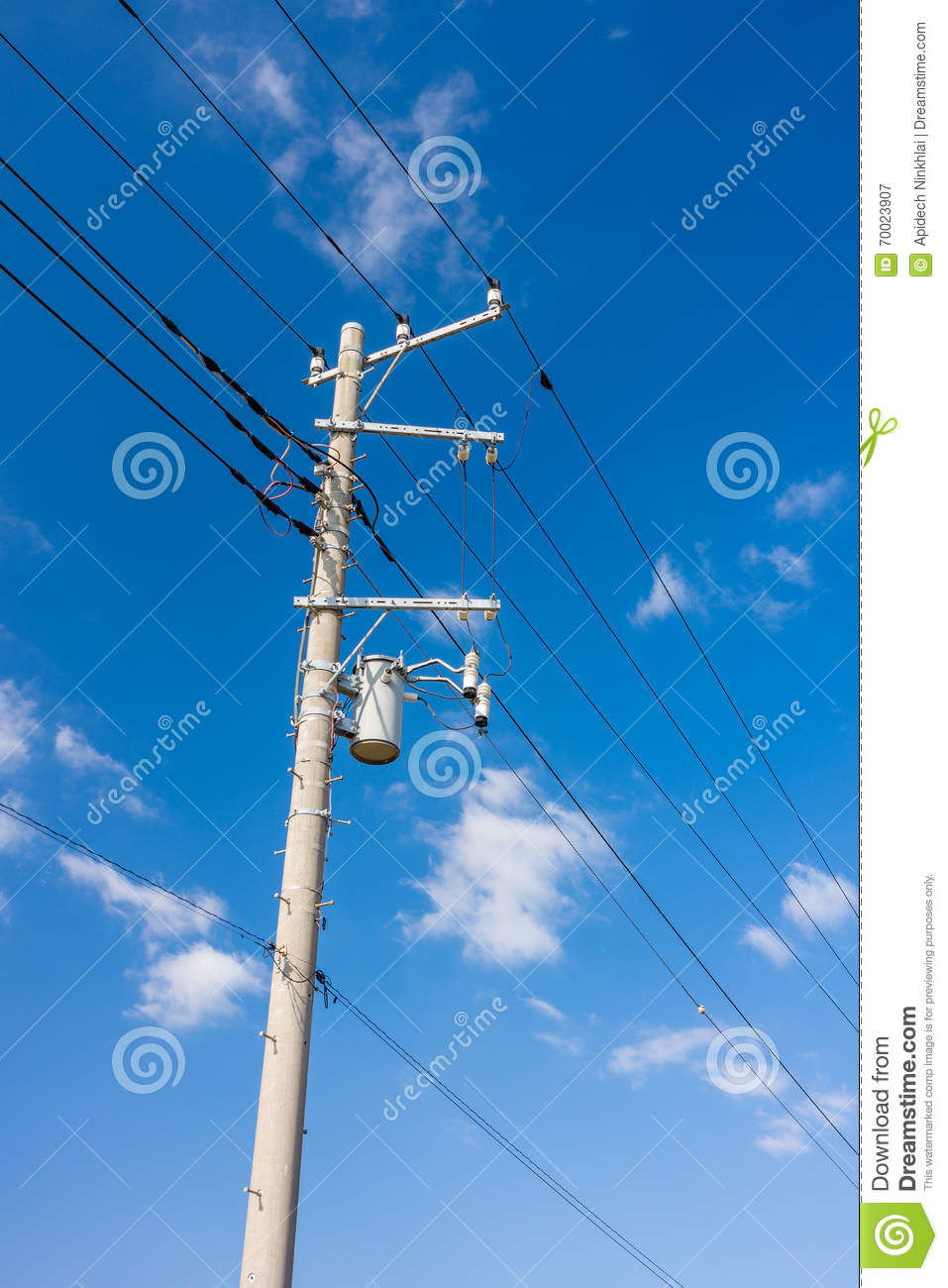 Electrical power line cables and concrete pole with transformer