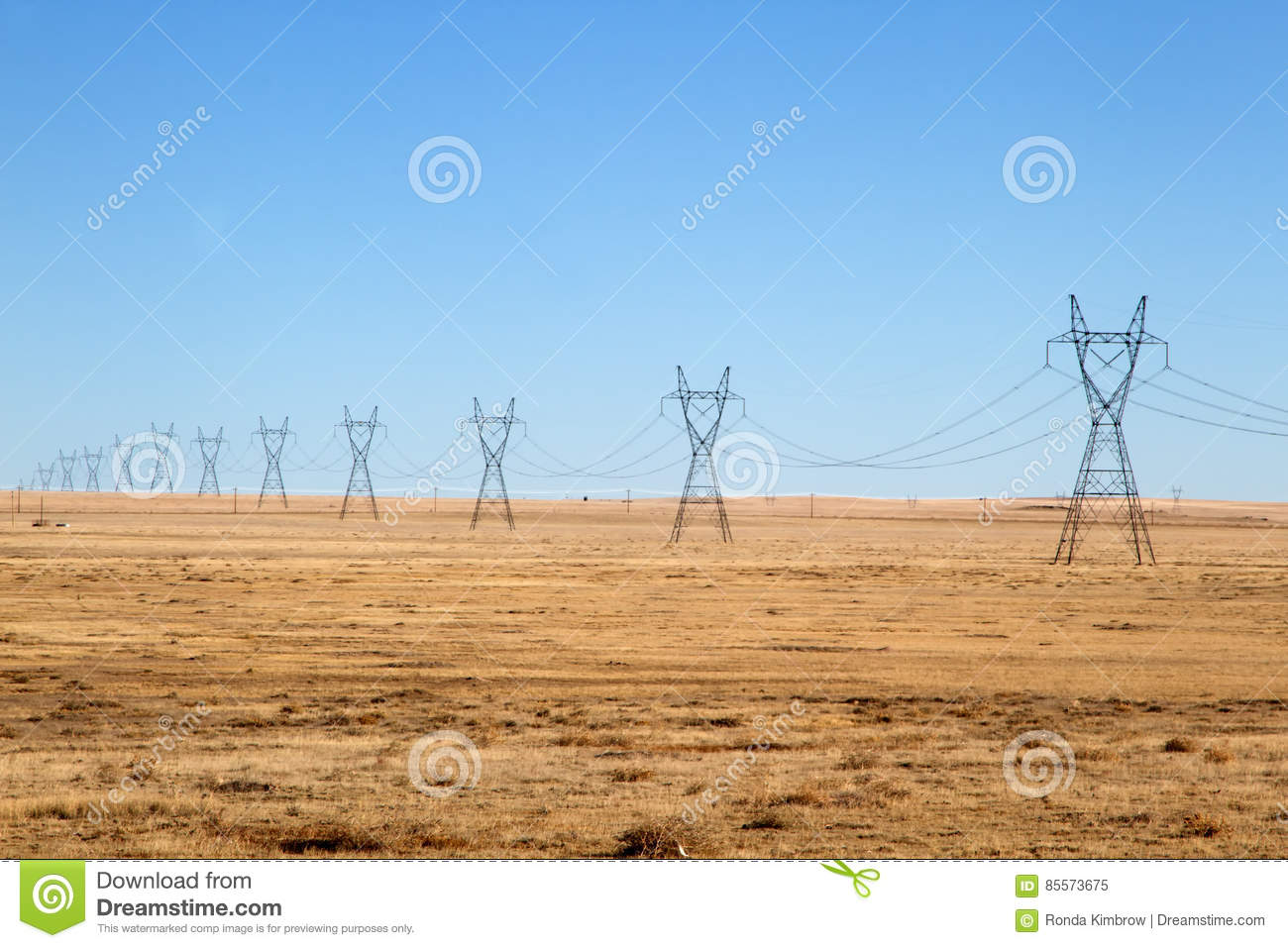Electrical Power Lines under a blue sky