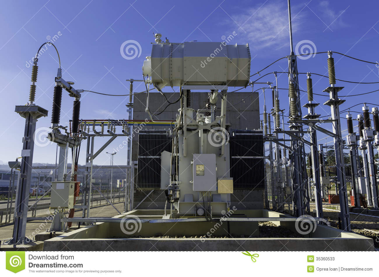 Low Voltage Electrician : Electrical power transformer stock image