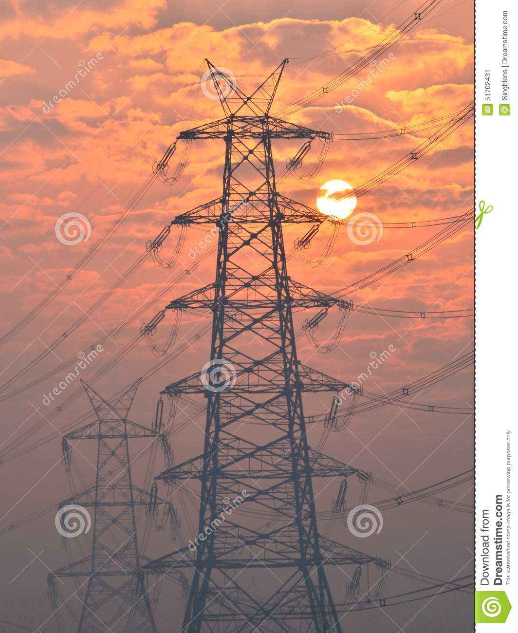 High Voltage Electrical Lines : Electrical pylon and high voltage power lines near