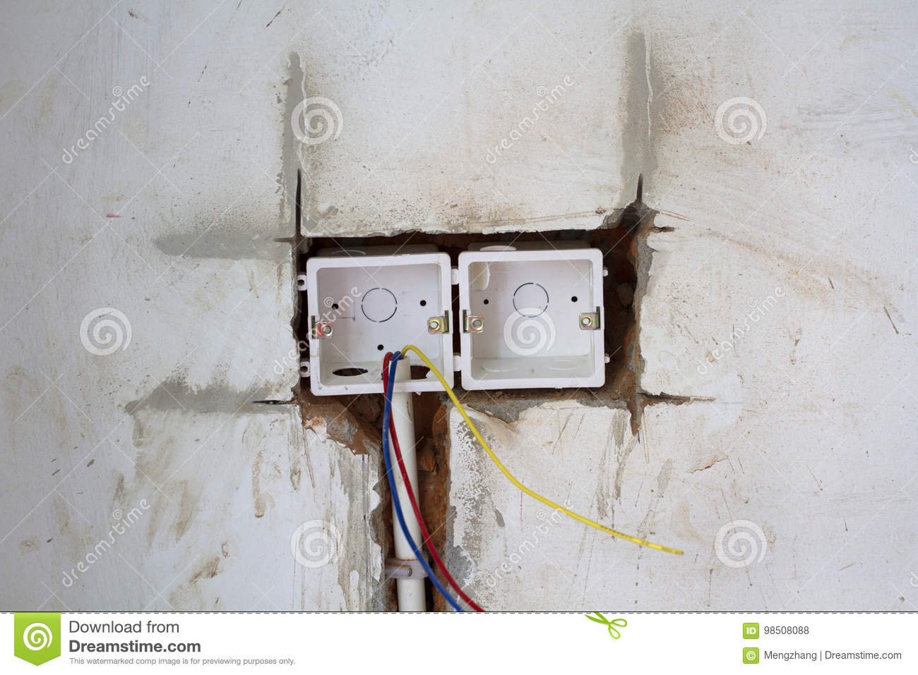 Electrical renovation work stock photo. Image of industrial - 98508088