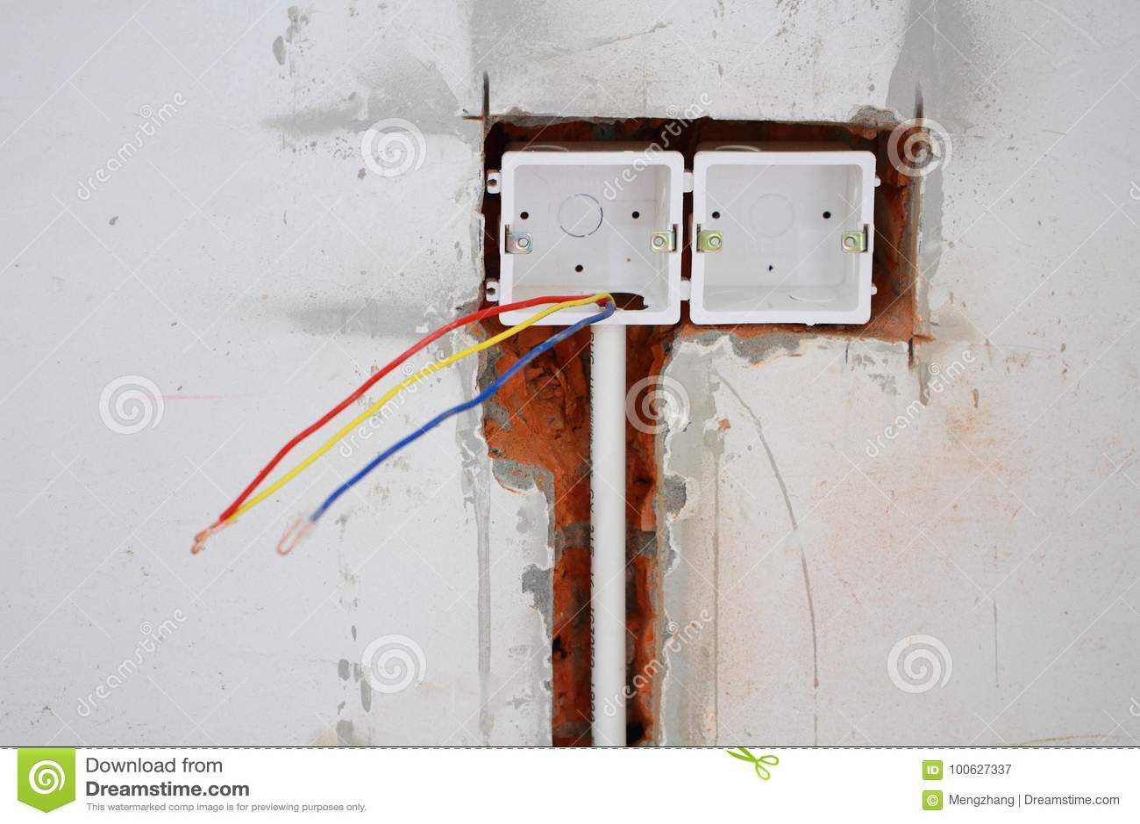 Electrical renovation work stock image. Image of hanging - 100627337