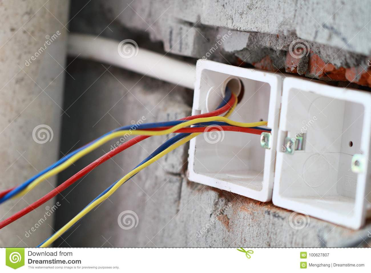 Electrical renovation work stock image. Image of brick - 100627807