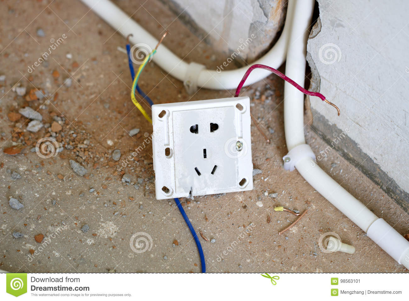 Electrical Renovation Work Light Plug Stock Image Of Close Wiring A Power Cable Electricelectrical Box With During Residential Renovationa Hanging Off The Wall
