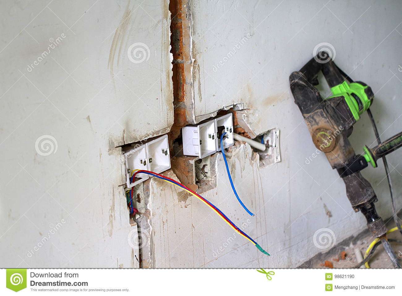 Electrical Renovation Work, Light Switch Stock Photo - Image of home ...