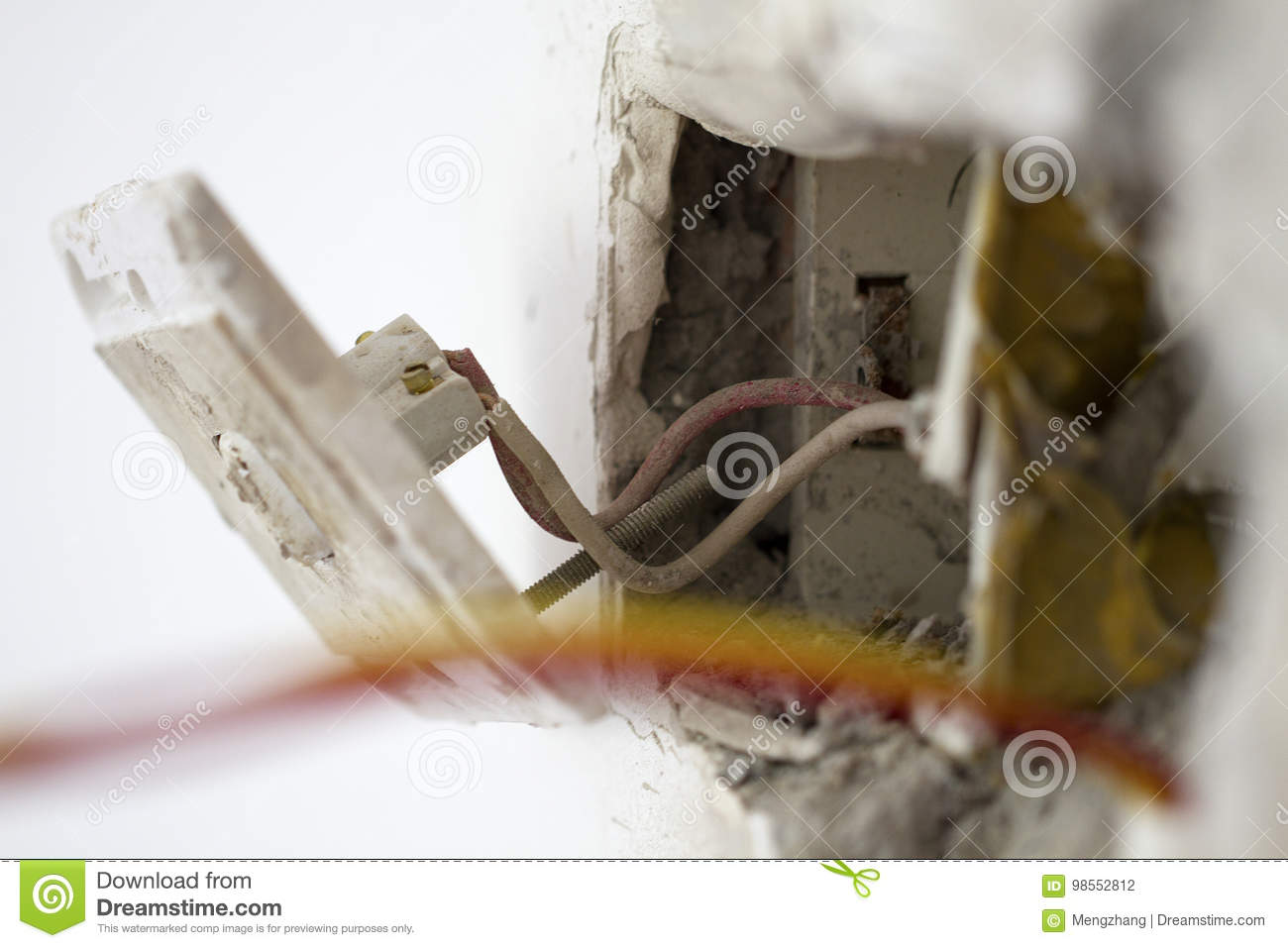 Electrical Renovation Work Light Switch Stock Photo Image Of Wiring Wall Box Cable Electricelectrical With During Residential Renovationa Hanging Off The