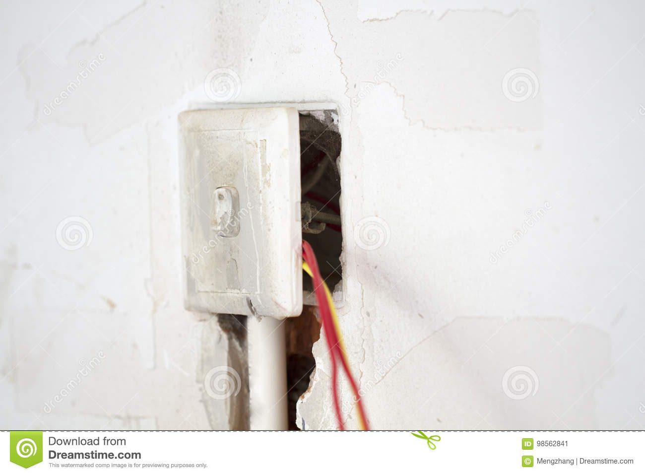 Electrical Renovation Work, Light Switch Stock Image - Image of hole ...