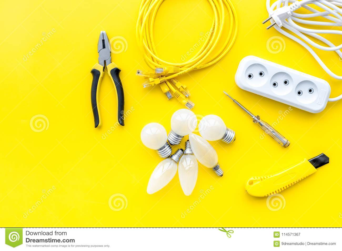 Electrical Accessories At Home Bulbs Socket Outlet Cabel On Yellow Background Top View Copy Space Stock Image Image Of Fixing Mockup 114571367