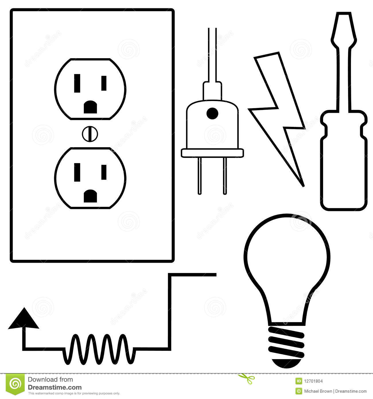electrical repair electrician symbol icons set stock