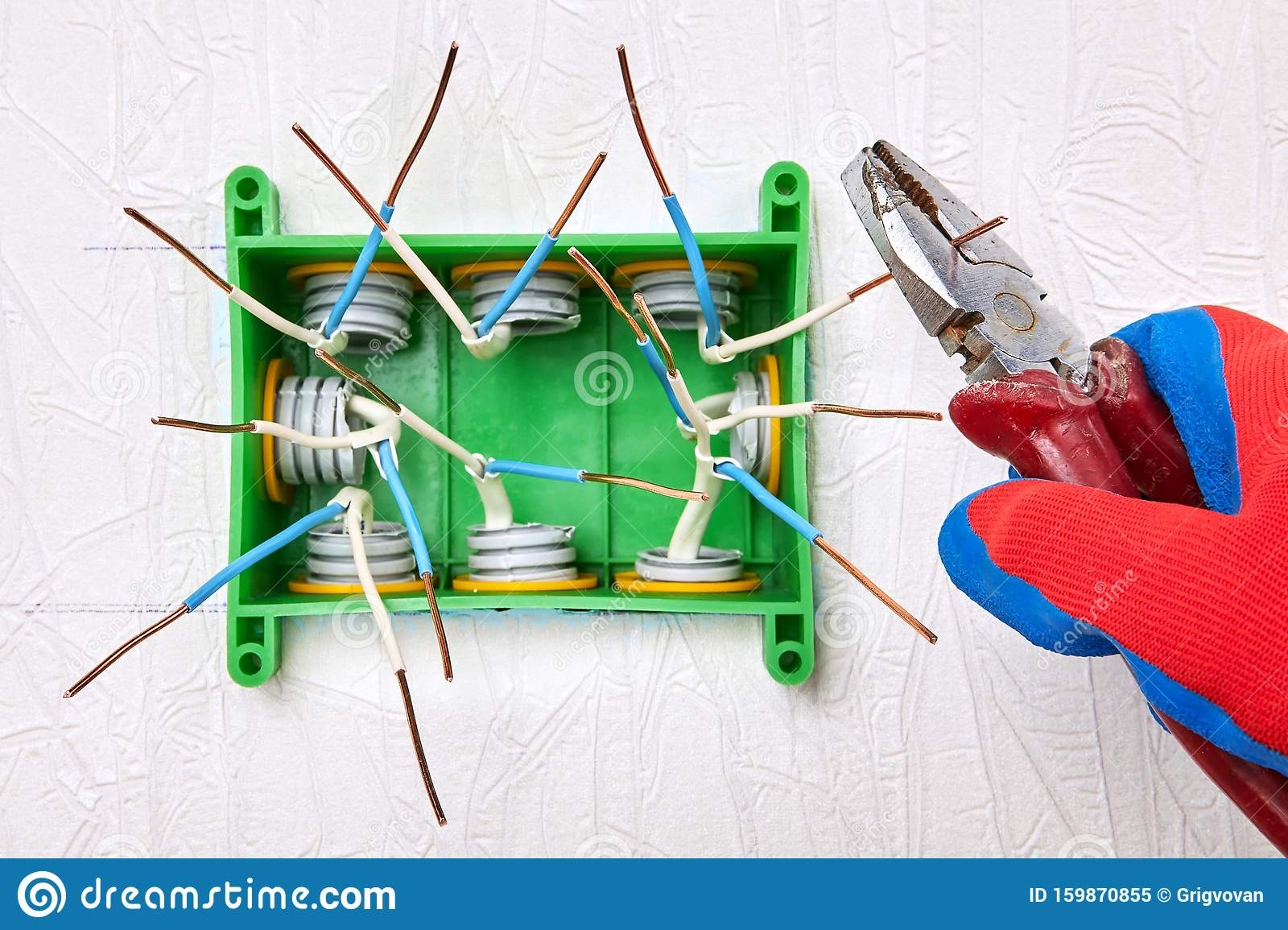 Electrical Work Installation Of Household Wiring Stock Image Image Of Home Green 159870855