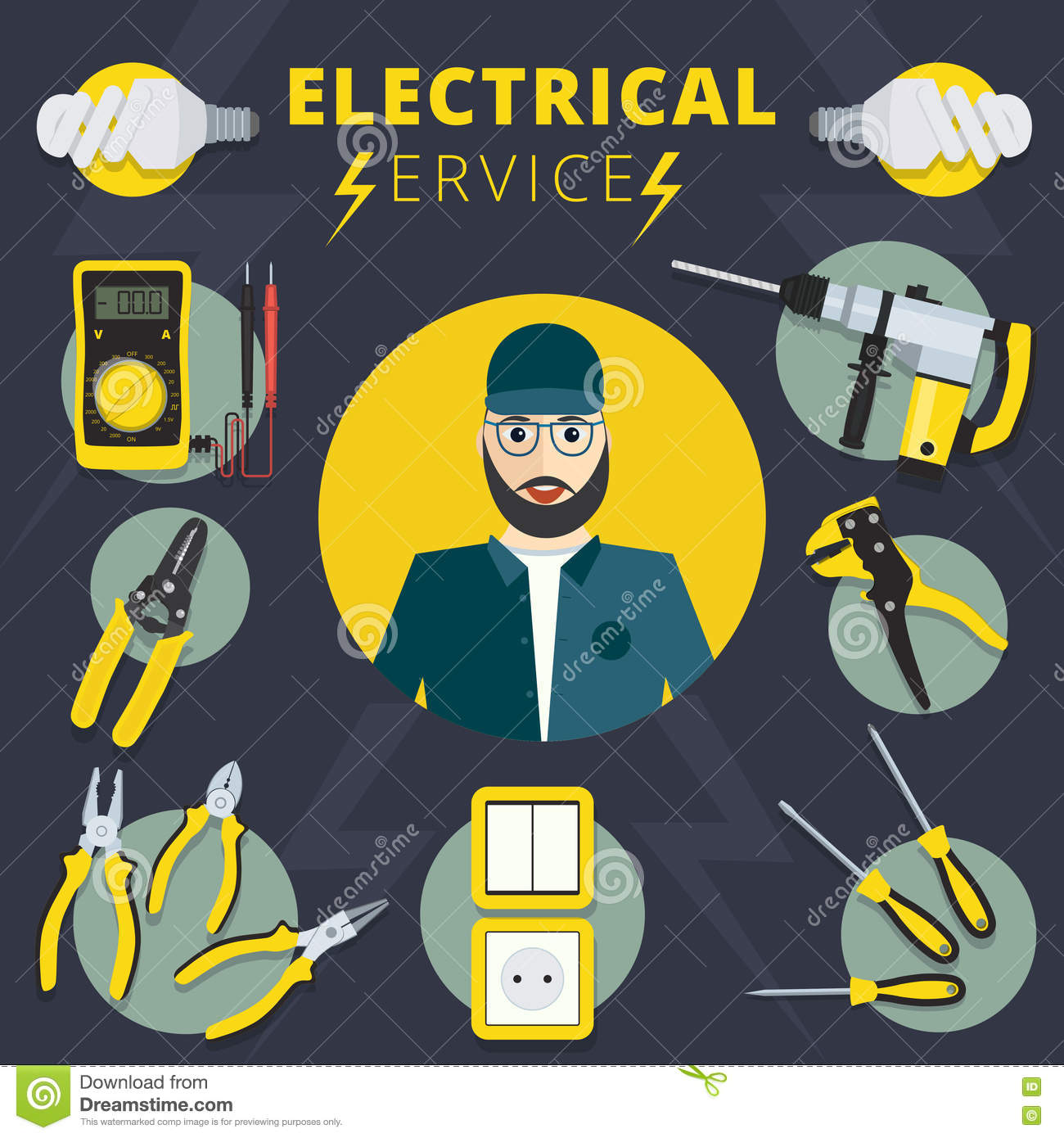 Electrical Design Services : Electrician man concept and color flat icons set isolated