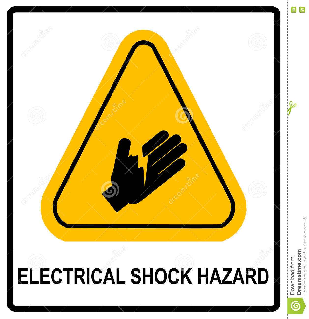 Electrical Shock Hazard Symbol Vector Illustration With Warning