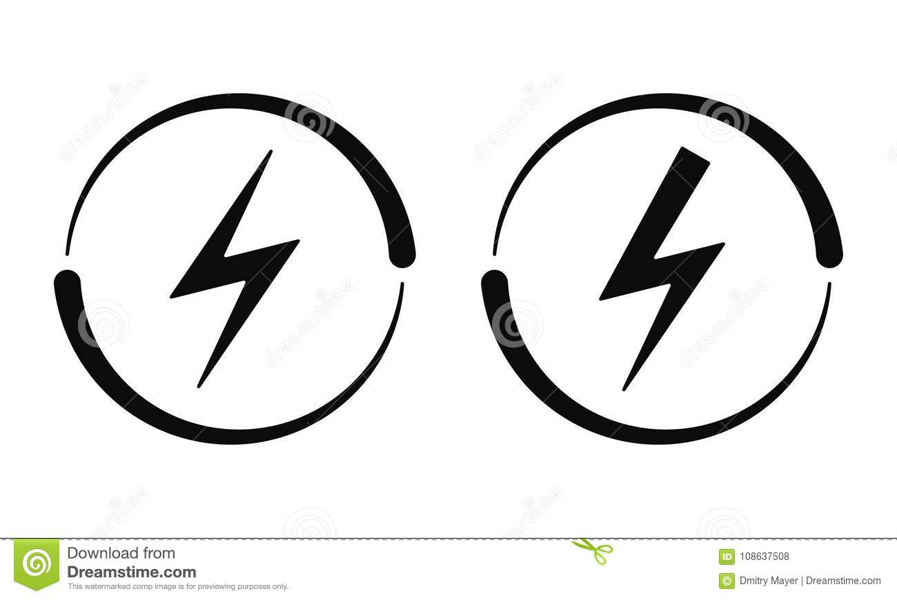 Electrical Signs Vector Icon Current Stock Vector Illustration