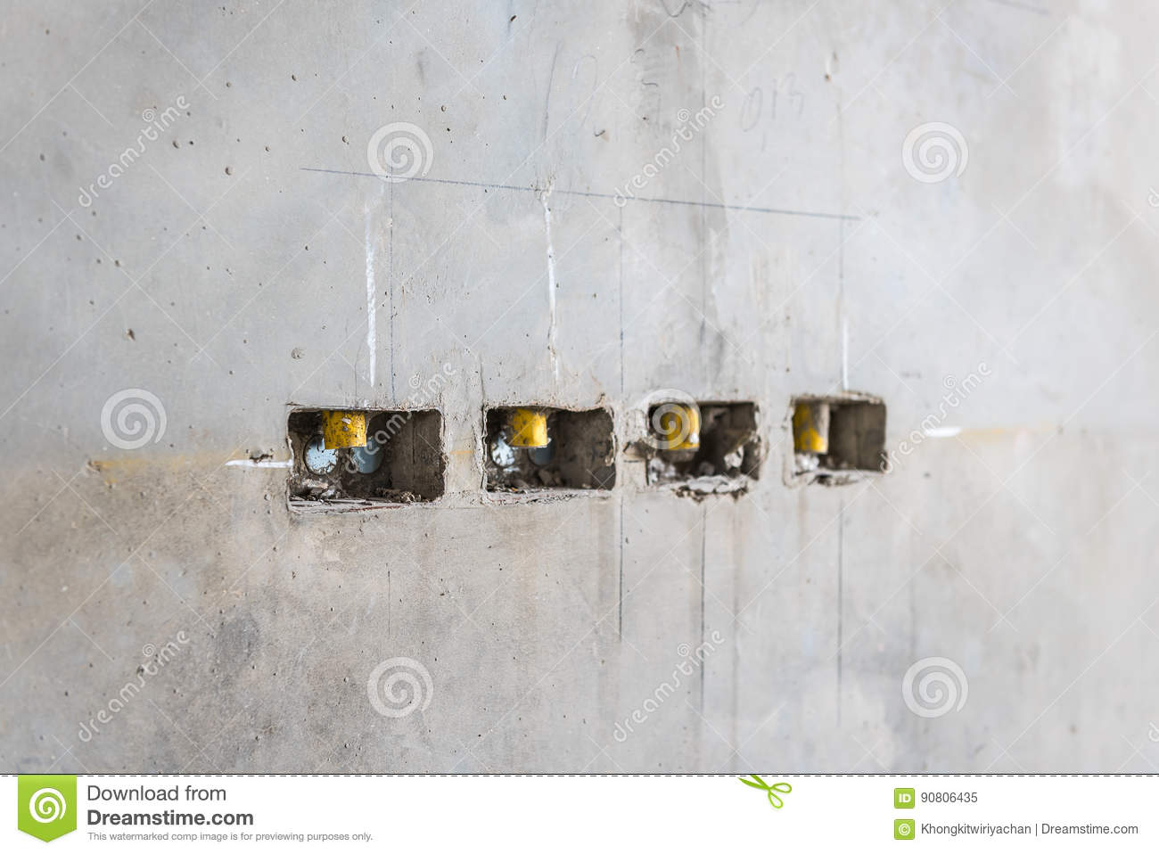 Electrical Socket Hole On Precat Concret Wall Outlet Electric W Wiring A Receptacle