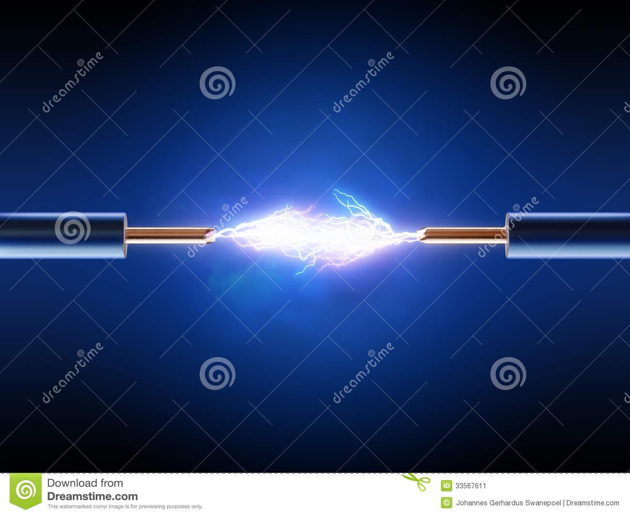 electrical spark between two insulated copper wires stock