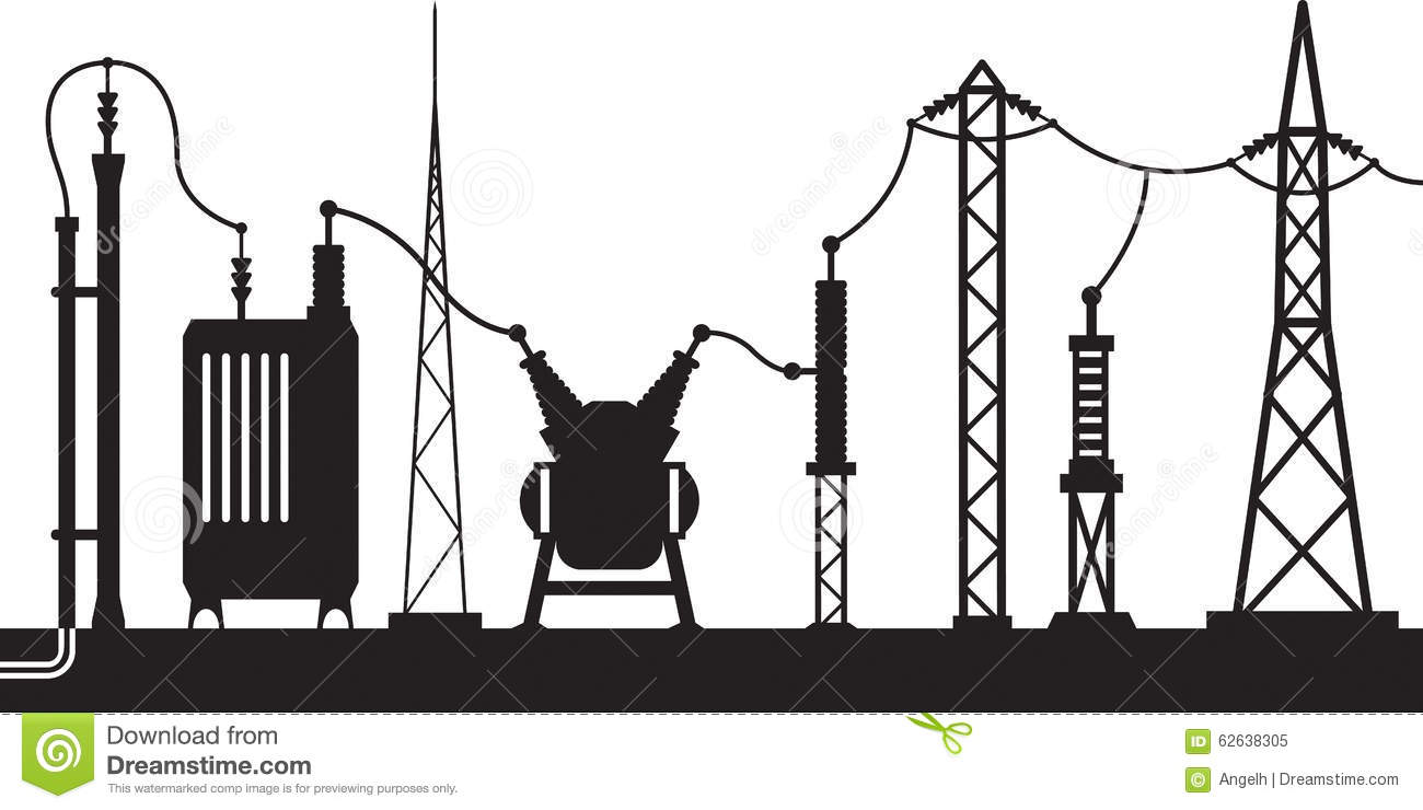 electrical substation scene stock vector