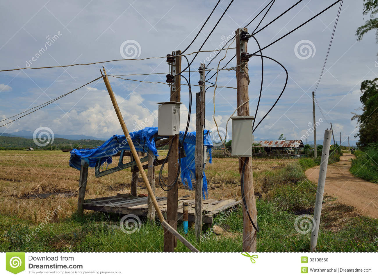 Electrical Switch Box On Temporary Pole. Stock Photo ...