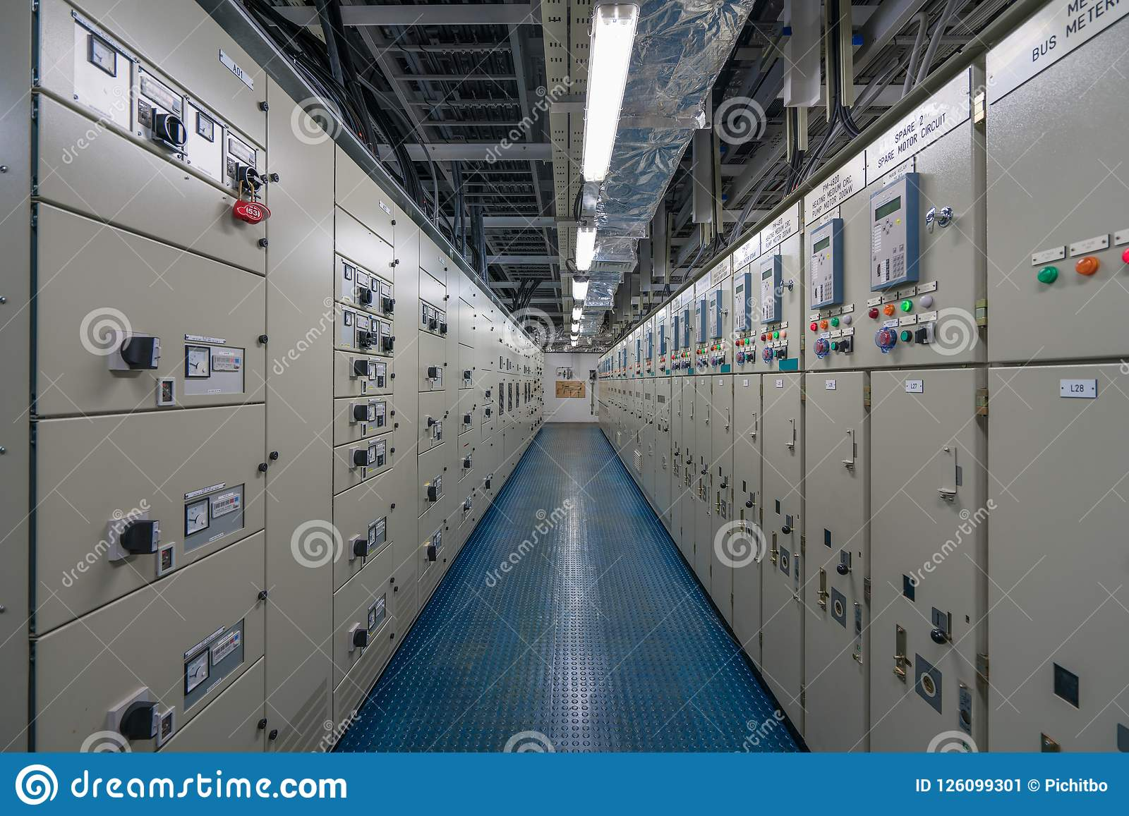Electrical Switch Gear Room With Electrical Control Panel And ...