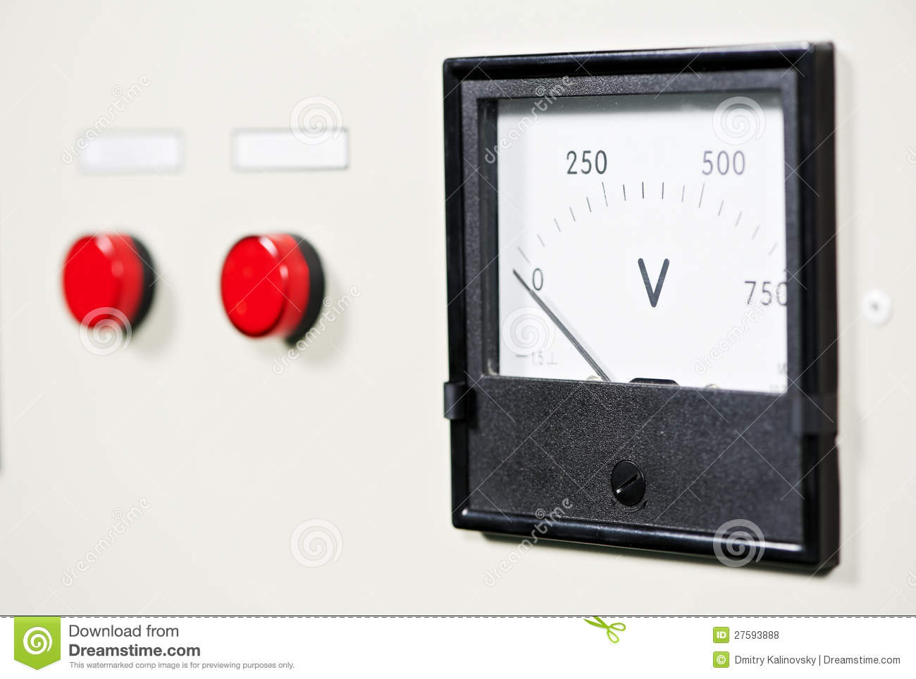 Electrical Switch Panel With Button And Voltmeter Stock Photo ...