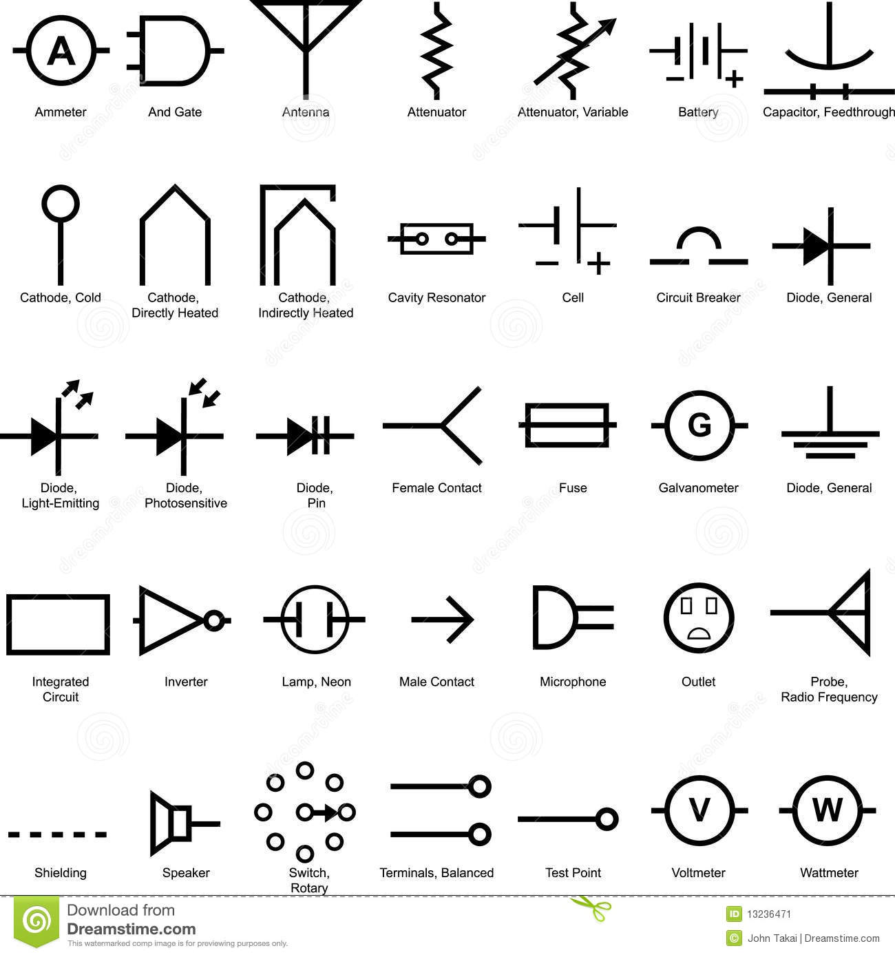 electrical symbol icon set stock vector  illustration of