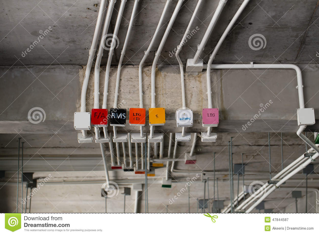 Electrical system stock image image of control power for Electrical wiring new construction
