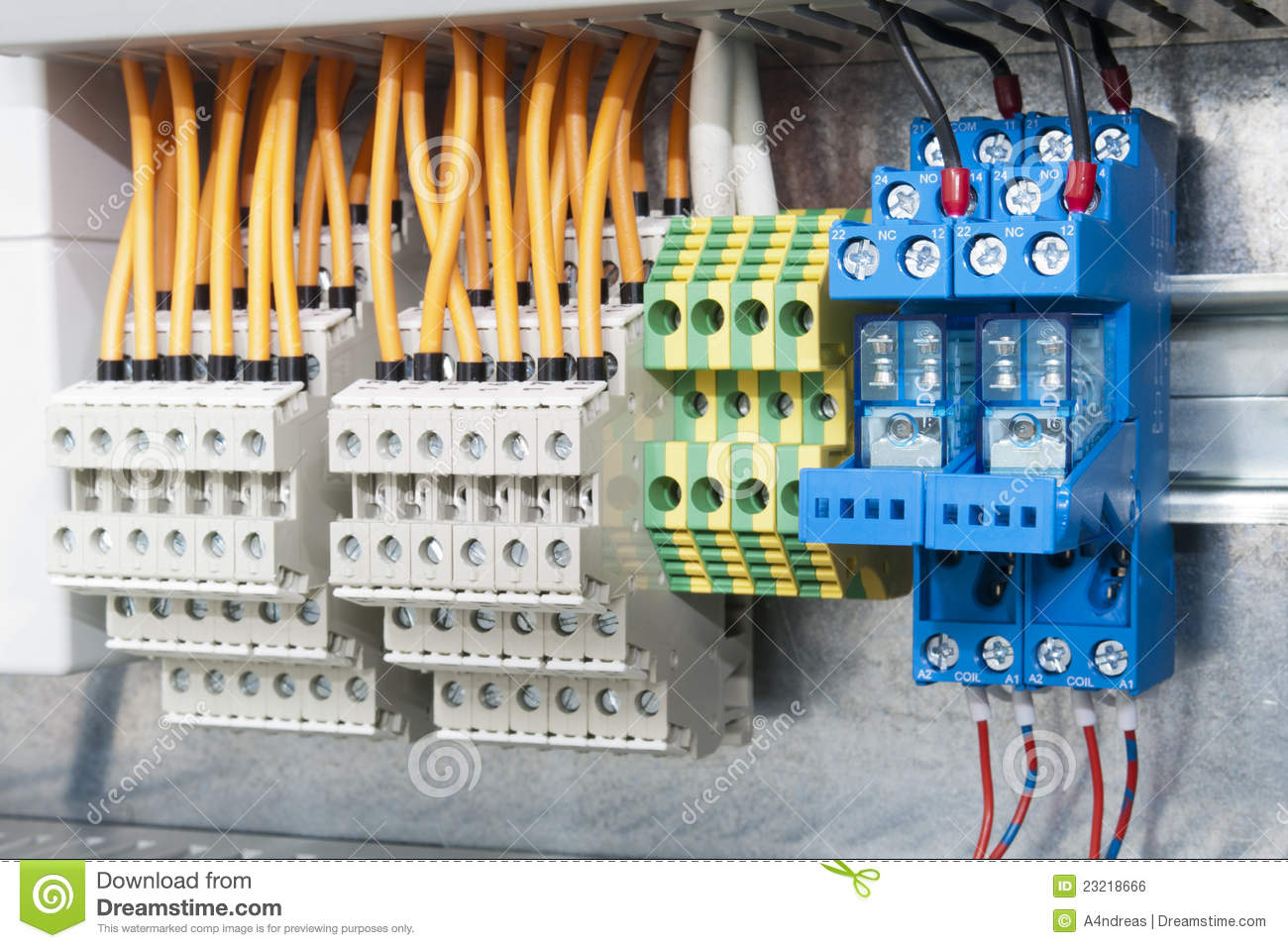 Electrical Terminal Blocks On Bar Stock Photo Image Of