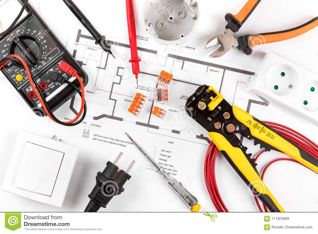 Electrical Tools And Equipment On Circuit Diagram Stock Image Home Wiring Basics