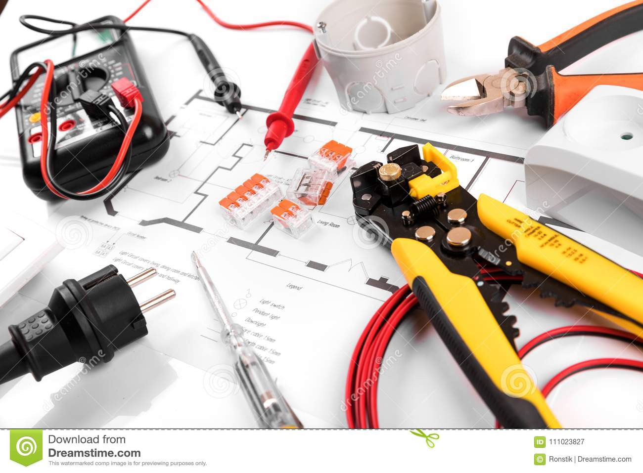 electrical tools and equipment on house circuit diagram stock image house exterior diagram electrical tools and equipment on house circuit diagram